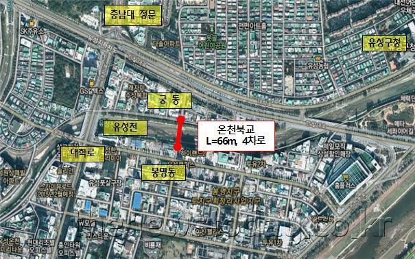 온천북교 개설, 유성 봉명동~궁동 단절지역 잇는다_위치도(온천북교 개설).jpg